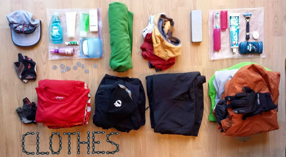 PCH Bike Tour clothes and toiletries